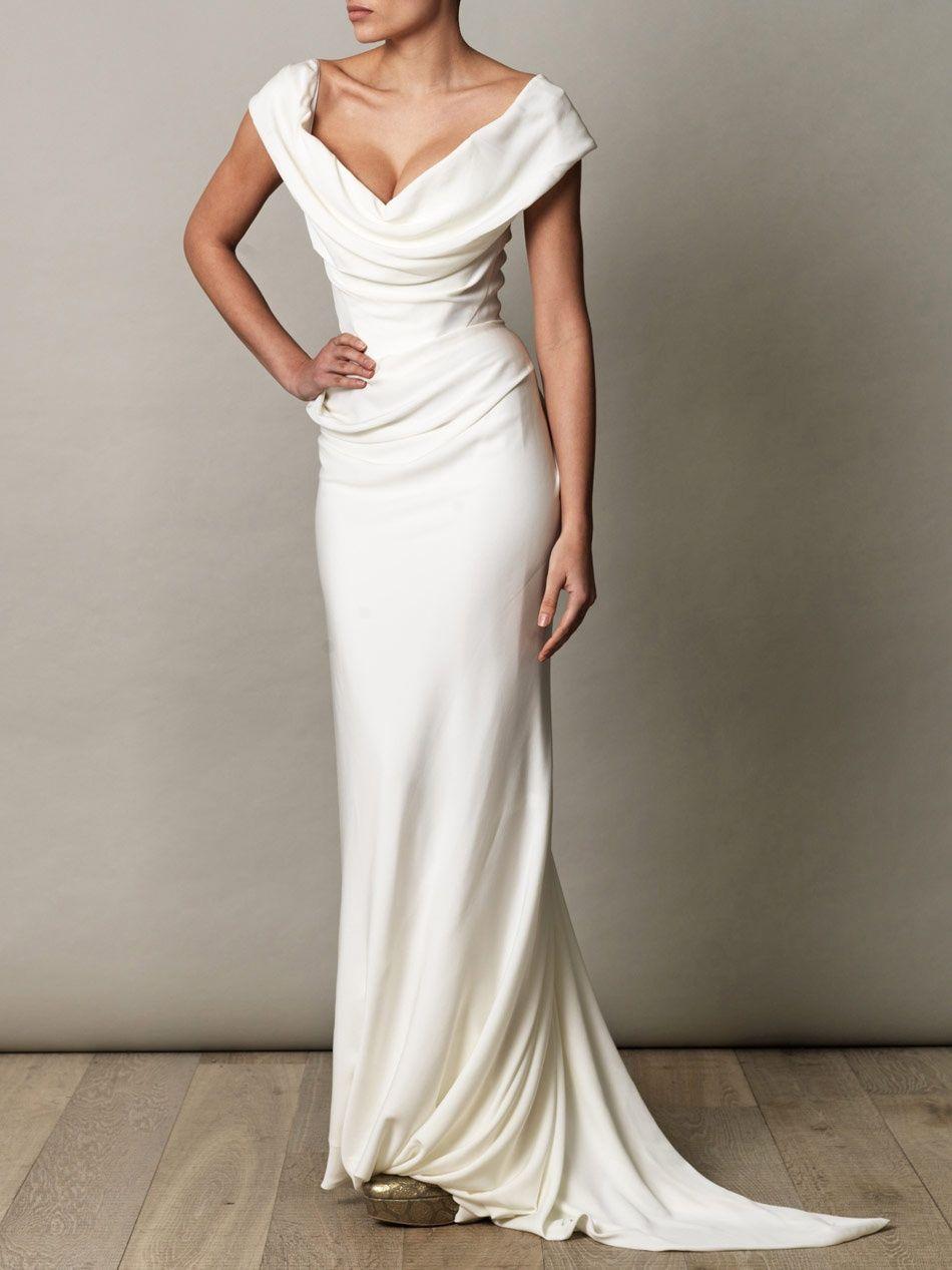 Vivienne Westwood Gold Label Georgette Drape Dress Elegant White Prom Dresses Wedding Dresses White Prom Dress [ 1267 x 950 Pixel ]