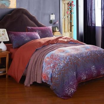deep purple and burnt orange vintage style bohemian indian pattern cotton full queen size bedding sets