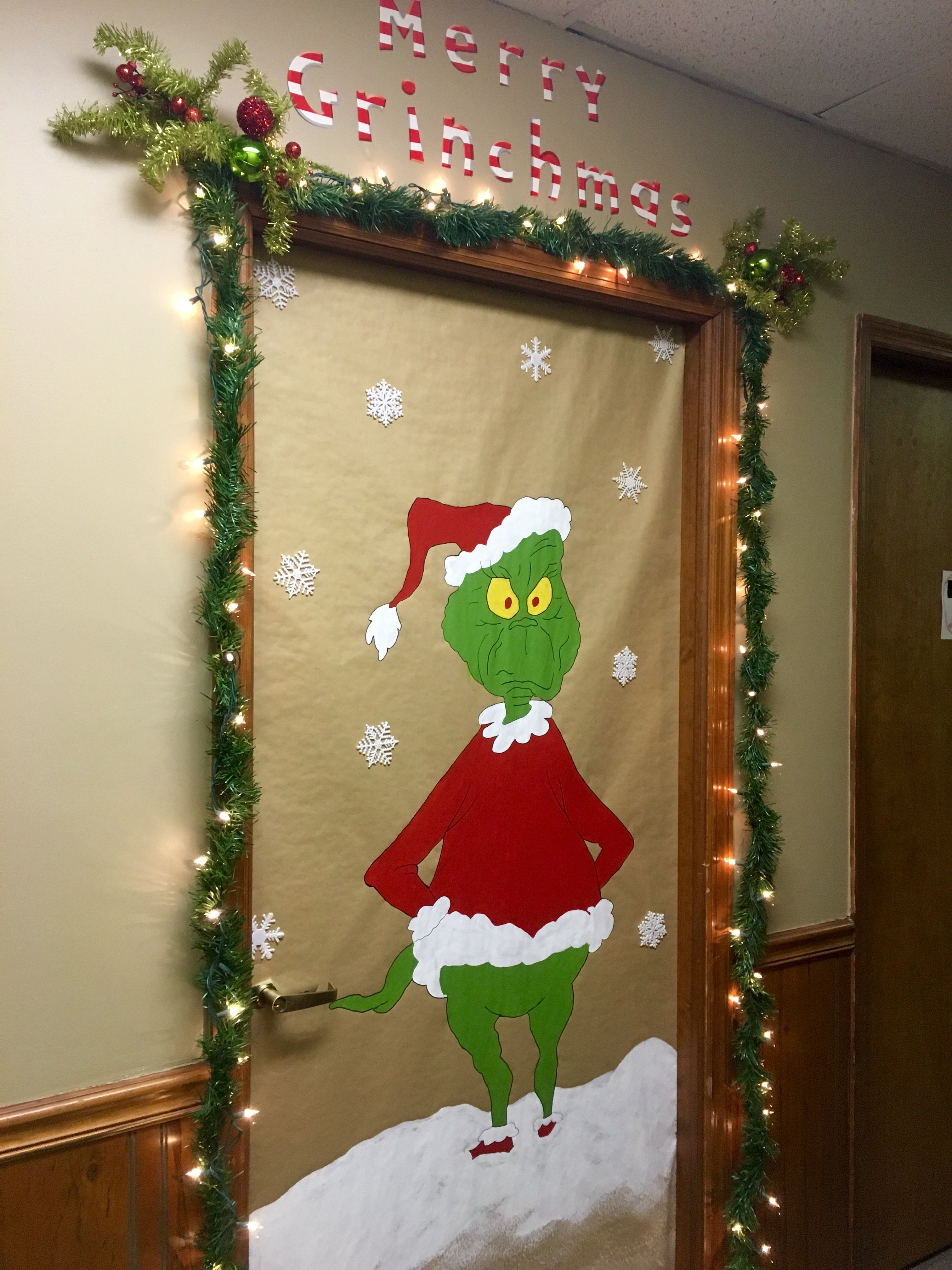 The Grinch Christmas Door Decorating Contest I Used A