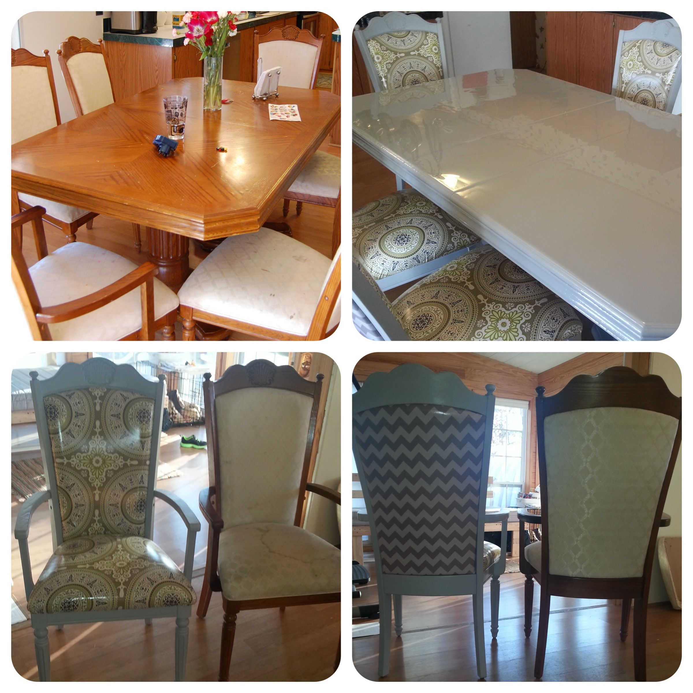 DIY Ugly Dining Table Refinish And Reupholster I Refinished This Set Of Tables Chairs