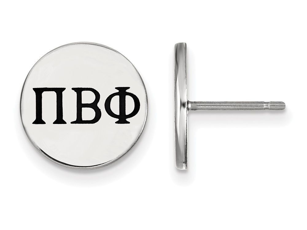 LogoArt Sterling Silver Pi Beta Phi Enameled Post Earrings
