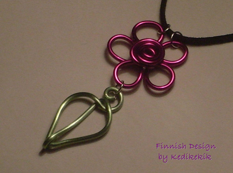 Colorful Aluminum Wire FLOWER Pendant On Soft Black by Kedikekik, $13.00