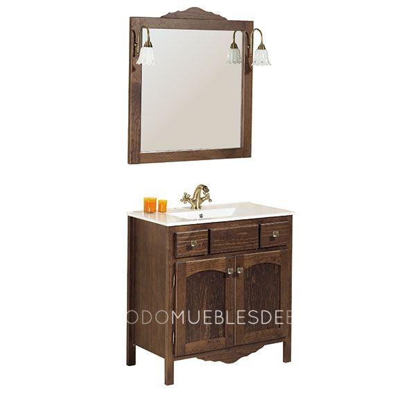 Mueble de 80cm color nogal rustico lavabo de cer mica espejo con marco apliques de luz - Mueble lavabo rustico ...