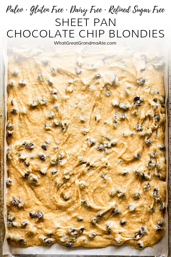 Yummy Sheet Pan Chocolate Chip Blondies are a healthy but decadent treat Yummy Sheet Pan Chocolate Chip Blondies are a healthy but decadent treat ...