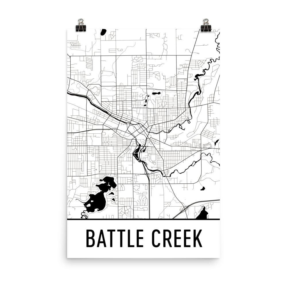 Battle Creek Street Map Poster Products Pinterest