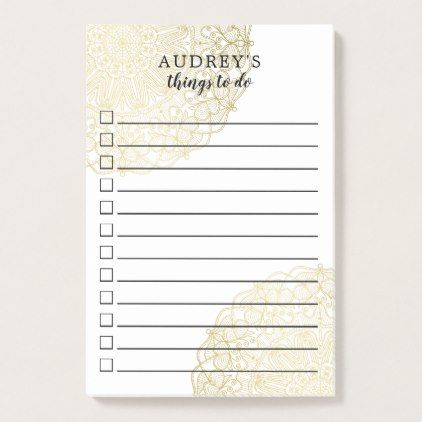 Gold Lace - Checkbox To Do List - Name Post-it Notes Gold lace - sample to do list