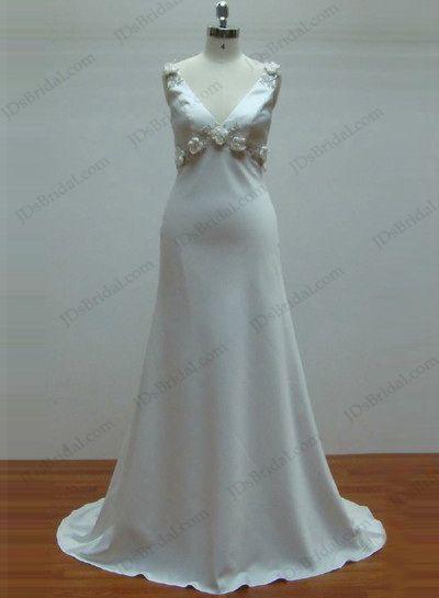 Plain v neck smooth beach wedding dress   simple wedding dresses for ...