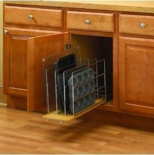 Kitchen Cabinet Organization · 9 Knape U0026 Vogt TDRO Tray Divider Roll Out    Wood Wire   Frosted