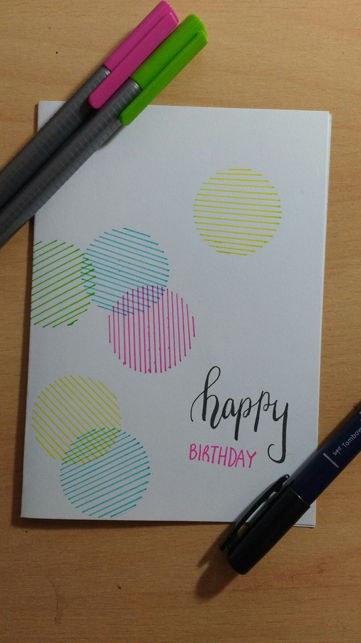 Happy Birthday Card Linear Circles Summer Colour Scheme