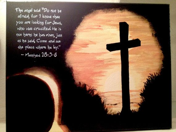 Hand Painted Easter Canvas Empty Tomb Amp Cross Silhouette
