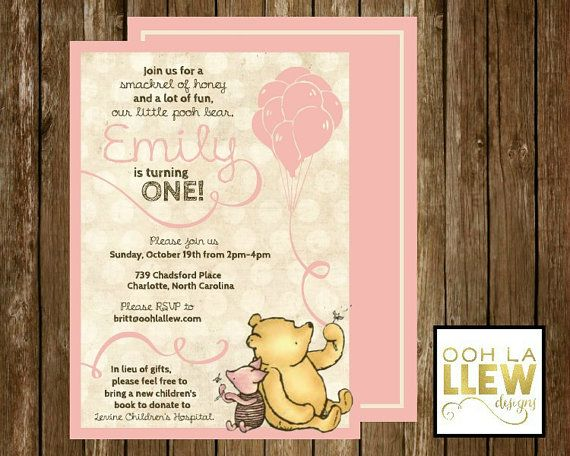 Winnie the Pooh Invitation Winnie the Pooh Birthday Winnie the