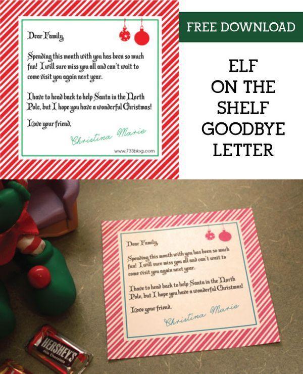 Shelf Elf Goodbye Letter Ideas, Shelves and Elves - goodbye note