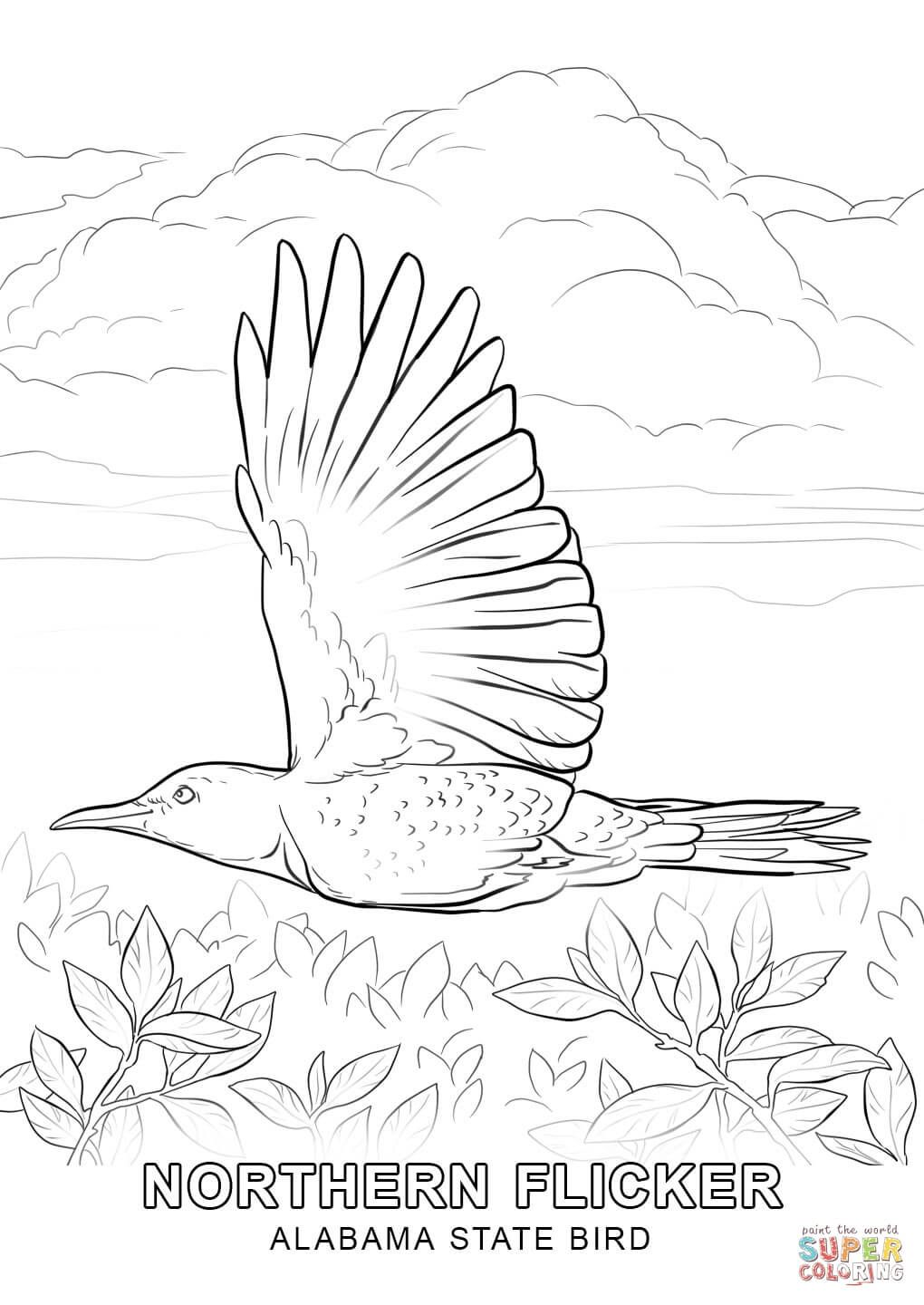 click the alabama state bird coloring pages to view