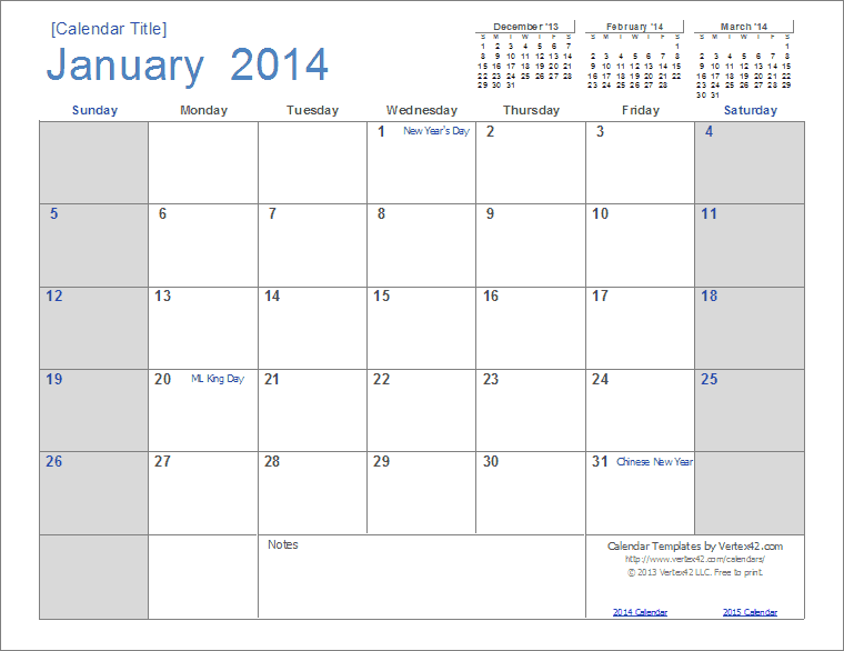 A New Calendar Design For 2014 Download And Edit In Excel