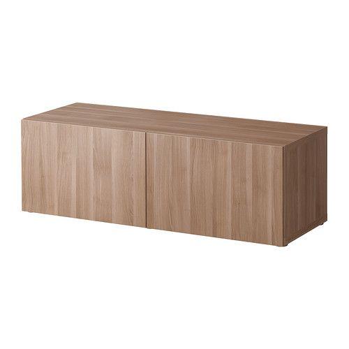 BESTÅ Open kast m deuren - Lappviken grijs gelazuurd walnootpatroon - IKEA
