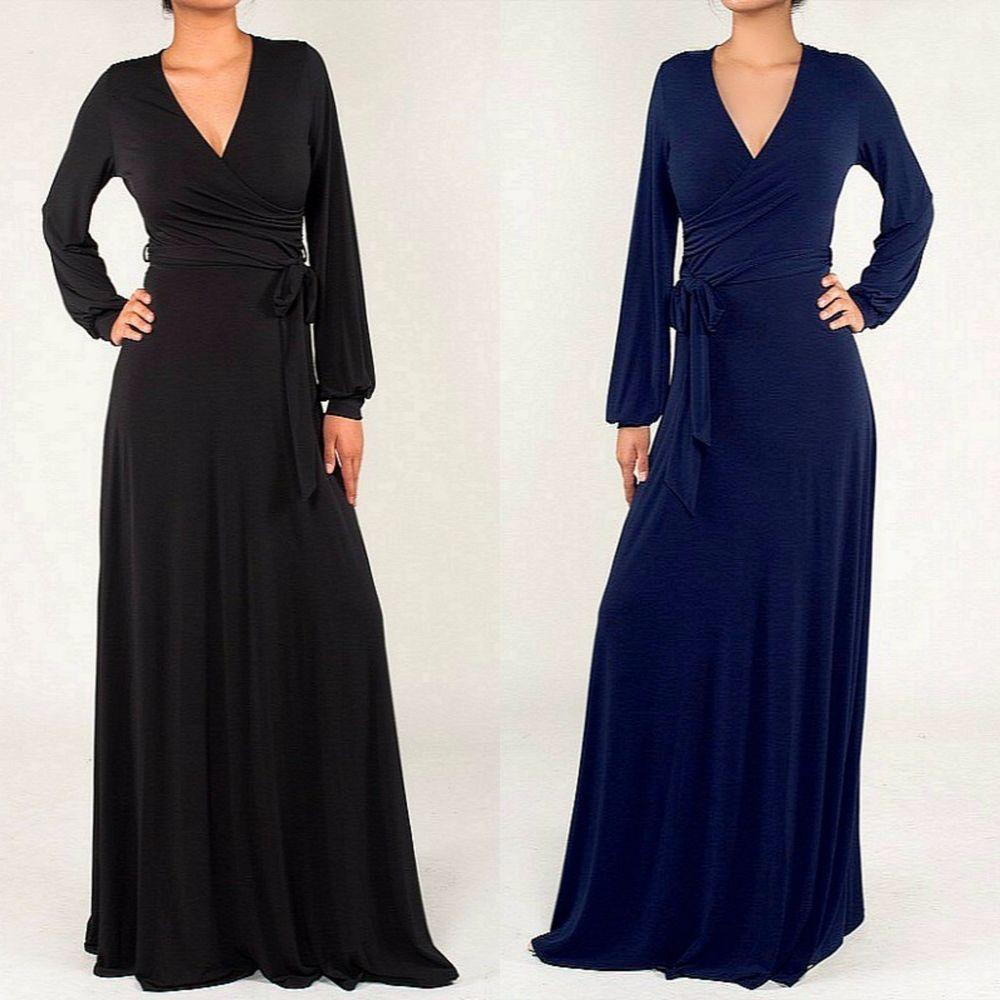JANETTE The FAMOUS 70s Maxi Wrap Dress SOLID Navy - BLACK Boho Long ...