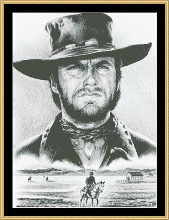Hollywood Greats Clint Eastwood The Stranger cross stitch chart Mystic Stitch $14.40