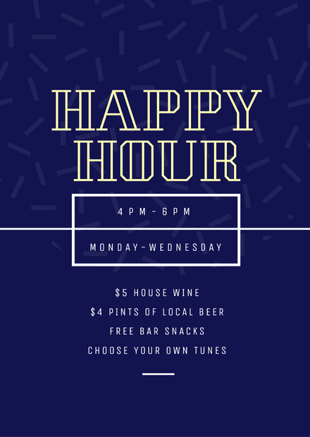 71349b3c3e6 DIY Drinks Template - Easily editable posters, flyers and social media  images about drinks for hospitality. Blue Happy Hour Poster/Flyer/Template  Design ...