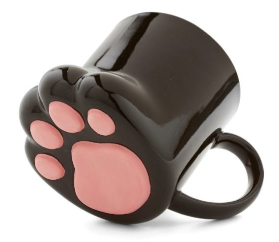 1f4916a4104 Pawsitively Bemused Mug. this black, cat-paw-shaped mug in hand. My coffee  mug / tea cup collection wants this and doesn't want this.
