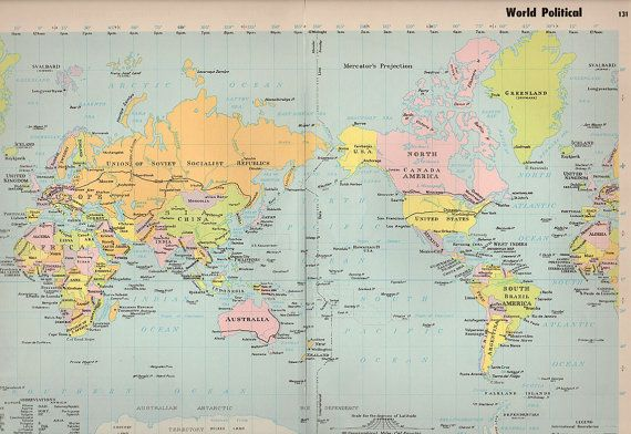 Antique World Map 1960s Original Map Of The World Products