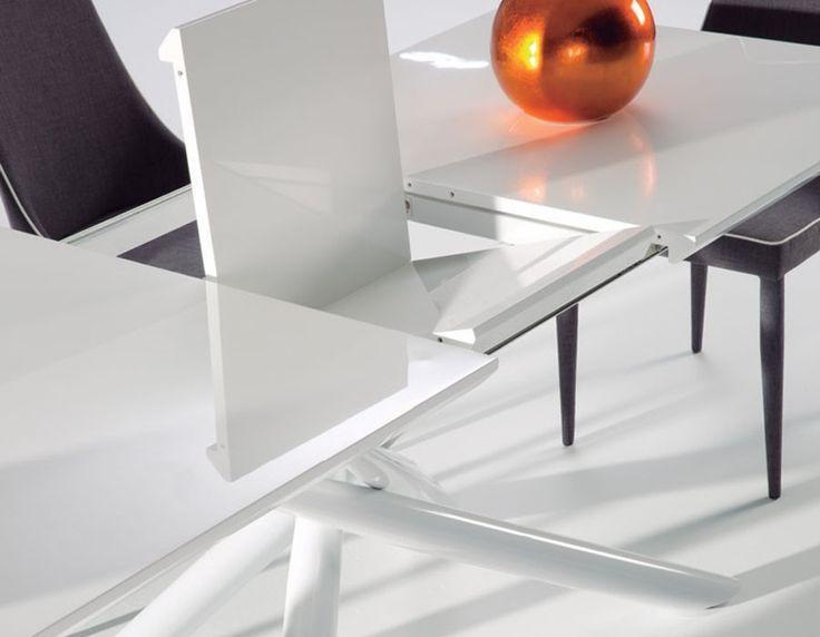 Nice Salle à Manger Table à Manger Extensible Blanc Laqué Design - Table a manger extensible blanc laque pour idees de deco de cuisine