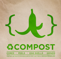 Compost Bin Label Banana Peel In Curly Brackets Zero