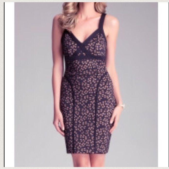 Bebe Black Tan Laser Cut Dress - Small