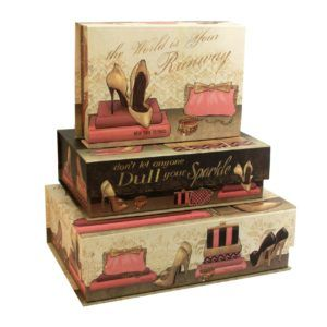 Pretty Decorative Storage Boxes   Set Of 3 Magnetic Tab Top These Beautiful  Storage Boxes Are Ideal For Storing Special Documents Jewellery Shoes