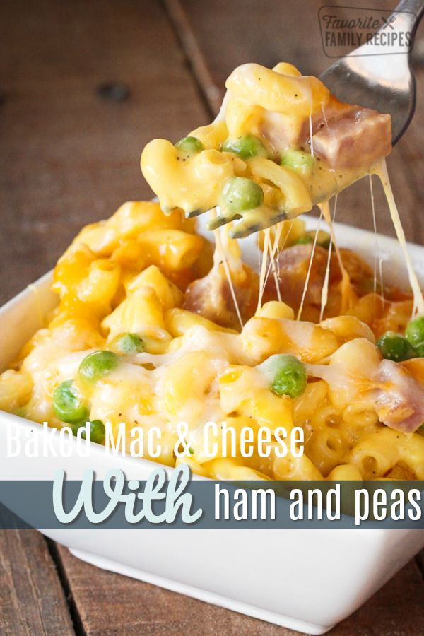 Homemade macaroni and cheese with ham and peas is a perfect, quick meal that is always creamy and NEVER grainy. Get creative with the add-ins and toppings! #macaroniandcheese #macandcheese #dinner #ham #onedishdinner #peas #bakedmacandcheese #cheesy #creamymacandcheese #glutenfree #FavoriteFamilyRecipes #favfamilyrecipes #FavoriteRecipes #FamilyRecipes #recipes #recipe #food #cooking #HomeMade #RecipeIdeas