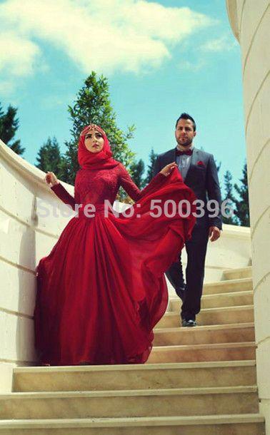 Muslimischen Dubai Arabische Abendkleid 2017 Neue Rote Chiffon Eine ...