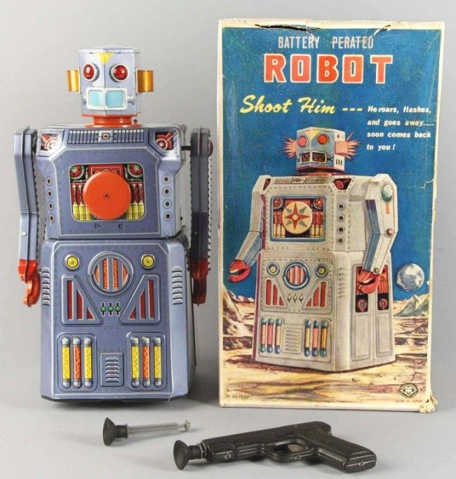 Tin Litho Target Robot Battery-Operated Toy.