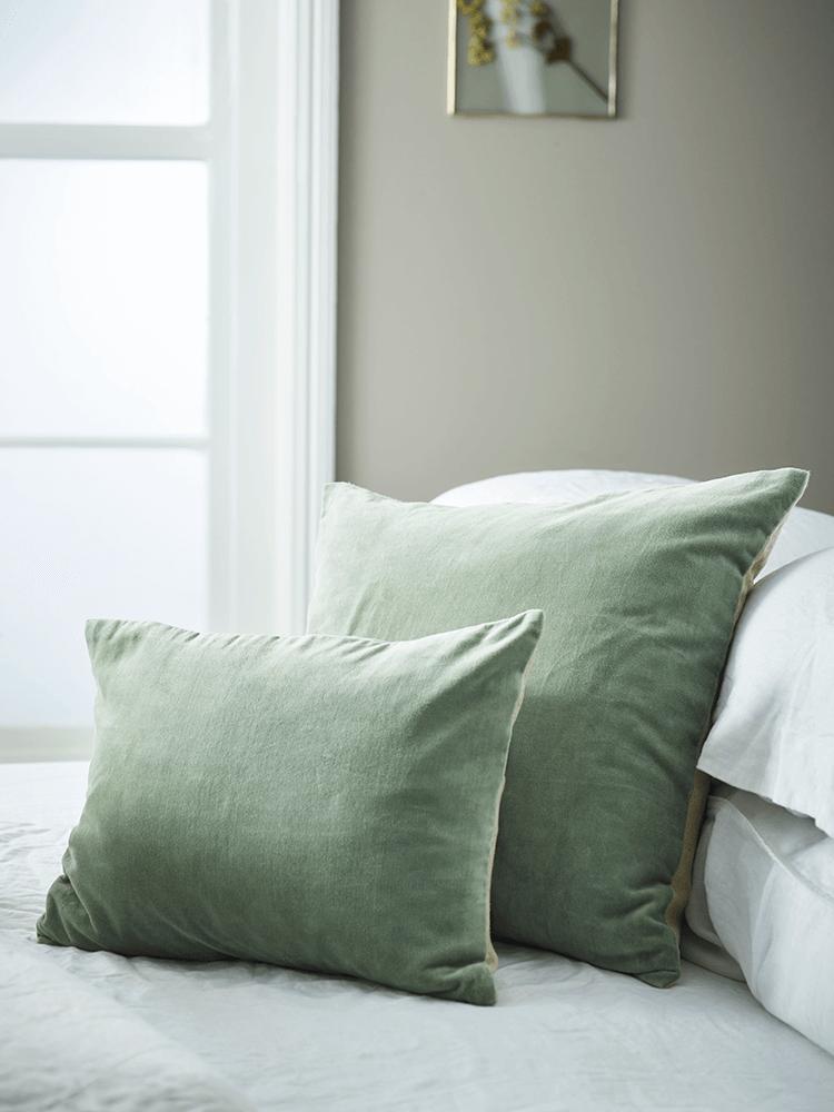 Velvet Linen Cushions Sage Sage Green Bedroom Bedroom Green Bed Linen Design