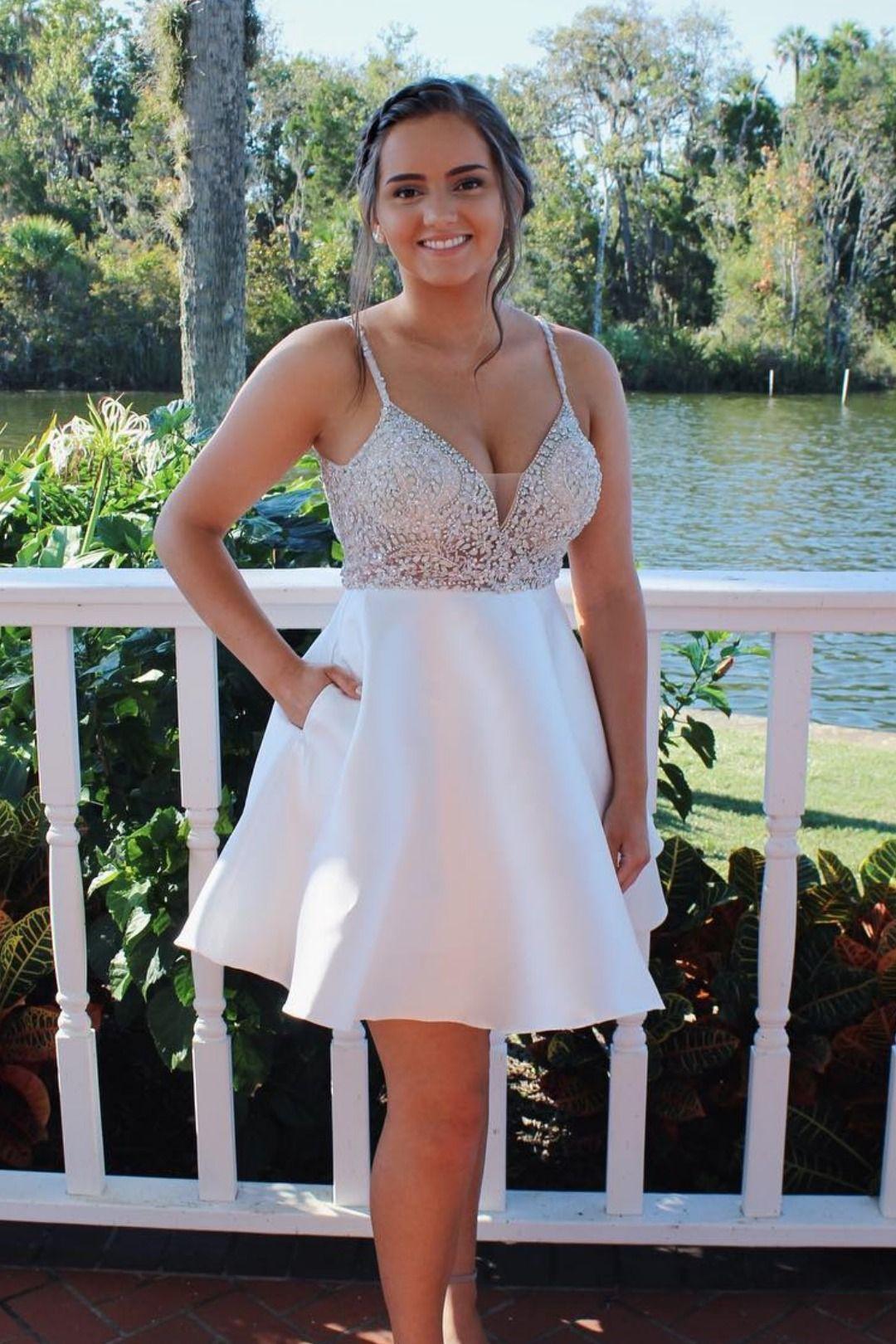 Cute straps short white dress from modsele