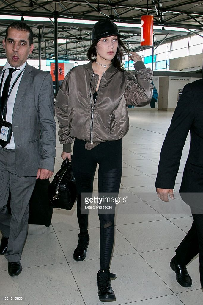 Model Bella Hadid is seen at Charles-de-Gaulle airport on May 28, 2016 in Paris, France.