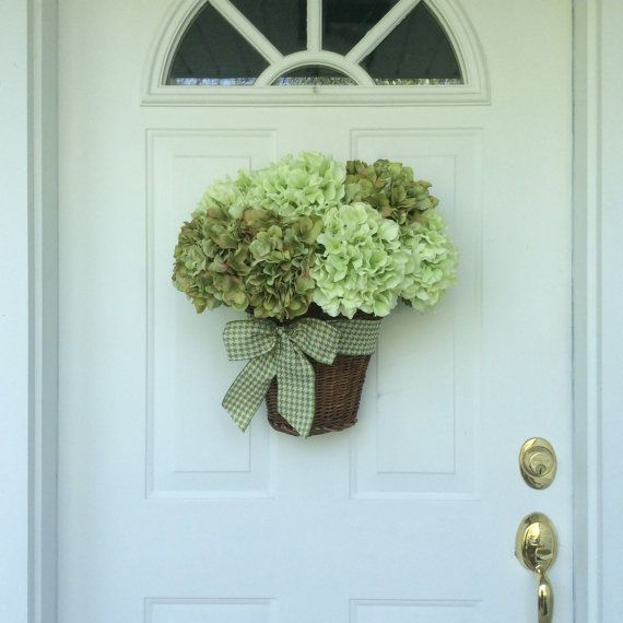 Summer Wreath-Spring Wreath-Hydrangea Wreath-Wall Basket-Hydrangea ...