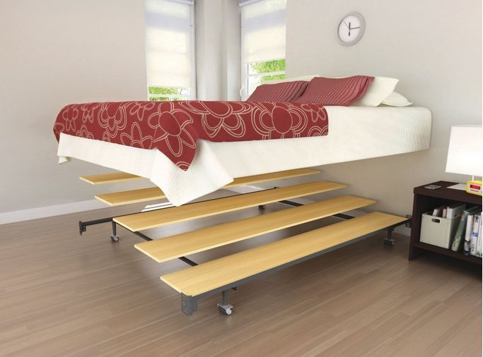 Queen Platform Conversion Set Bed Frame Portable Bedroom Wood