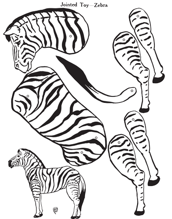 Zebra Jointed Paper Toy - 1920