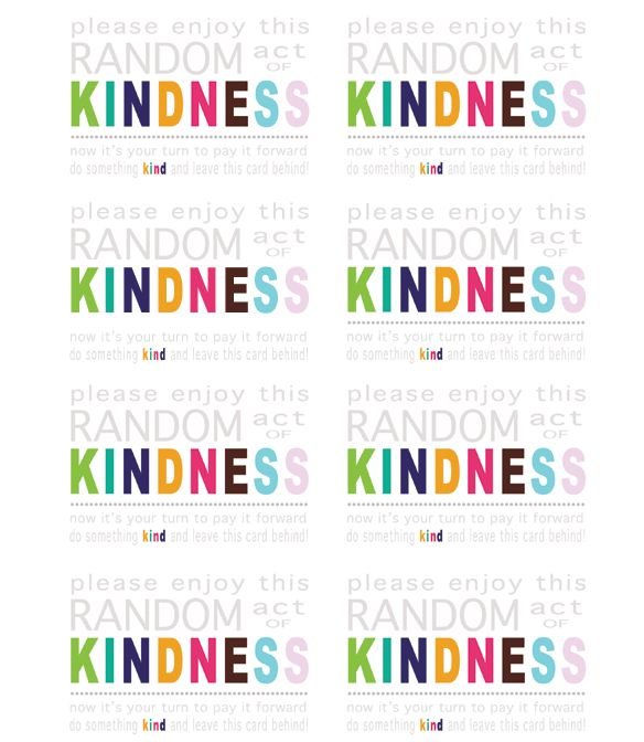 40th Birthday Random Acts Of Kindness: Random Act Of Kindness Cards