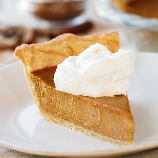 The Perfect Pumpkin Pie with Vanilla-Bourbon Whipped Cream—nothing like the velvety from-scratch texture, and perfectly spiced filling.