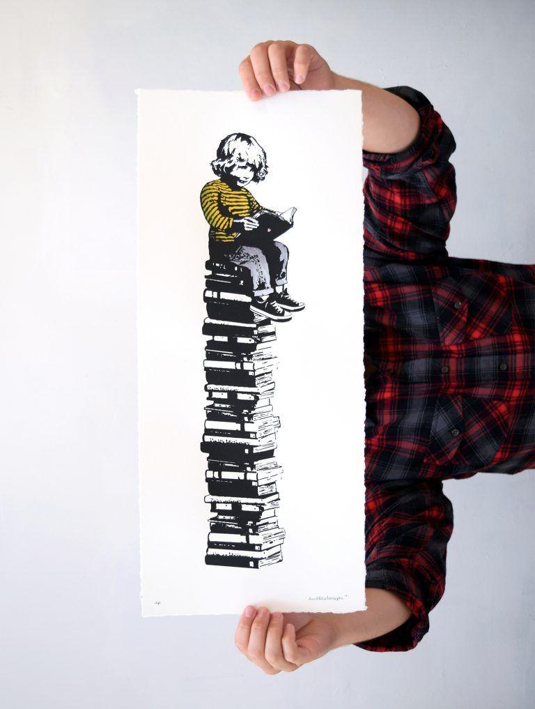 Child reading print