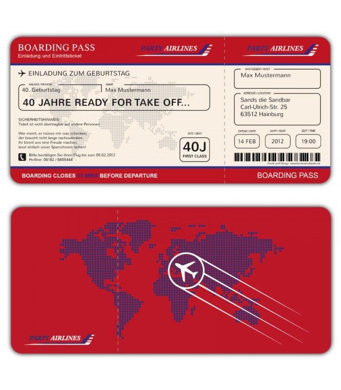 einladungskarten flugticket geburtstag ticket einladung karte boarding pass einladungskarten. Black Bedroom Furniture Sets. Home Design Ideas