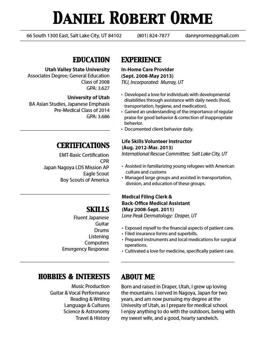 One Page Resume  Google Search  Resume
