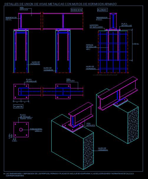 Apoyo de vigas metalicas sobre muro de hormig n armado planos de casa en 2019 viga metalica - Tipos de vigas metalicas ...
