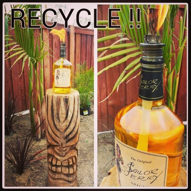 Recycled Sailor Jerry Bottle Tiki Torch Wedding Ideas Pinterest