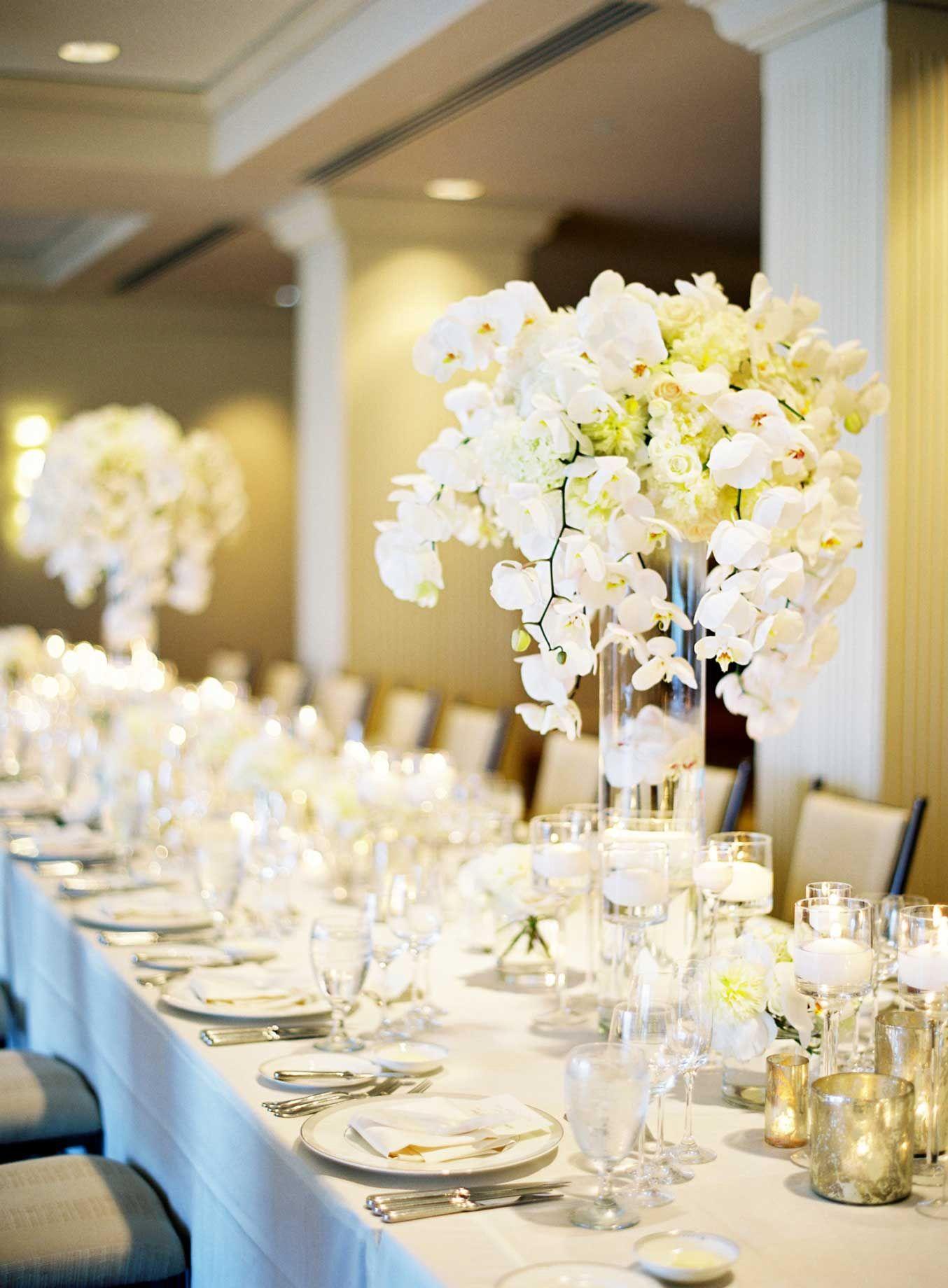 White wedding decoration ideas  Siempre decora tu mesa con flores  Tu Mesa  Pinterest  White