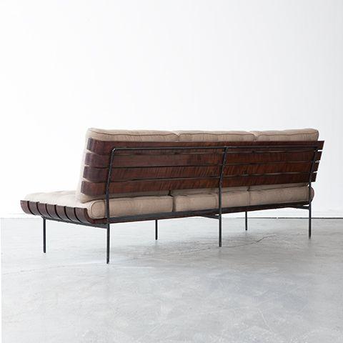 Joaquim Tenreiro, wood slatted sofa, 1950s. Like a comfy park bench ...