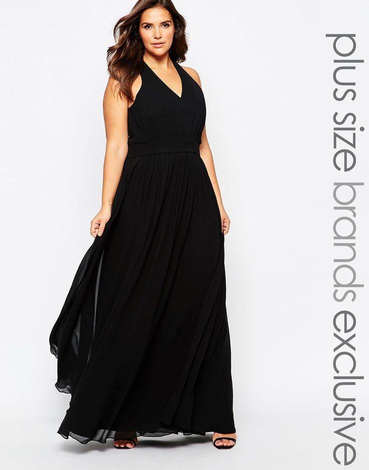 plus size plunge front halterneck maxi dress | plus size fashion