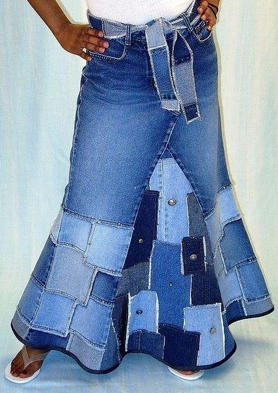 вязание из старых джинс