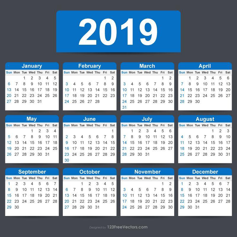 Free Editable Calendar 2019 Free Vectors Pinterest Calendar