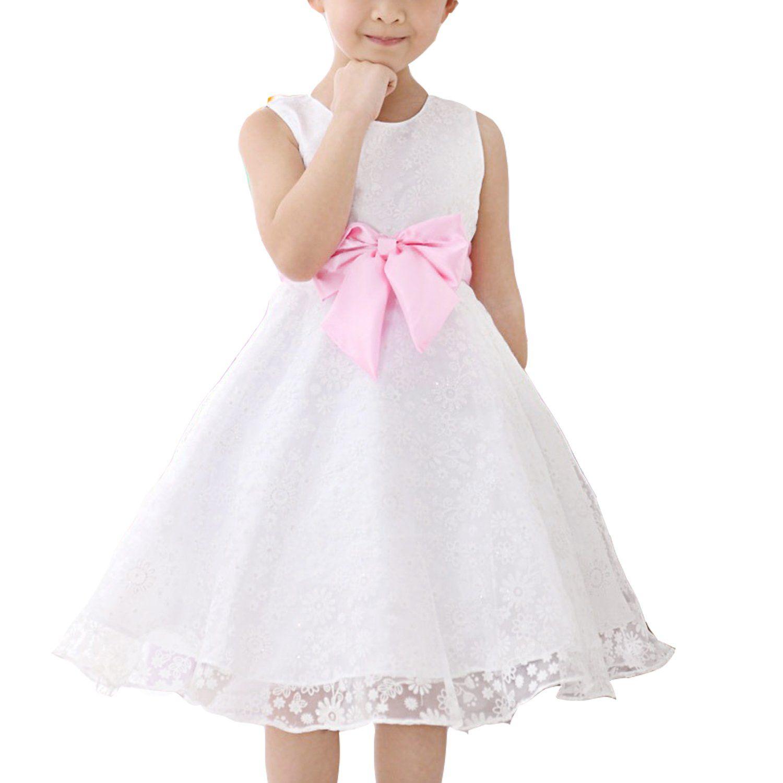 Mädchen Kinder Kleid Hochzeit Abendkleid Weiß Kommunionkleid